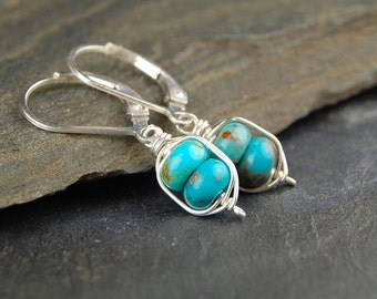Turquoise earrings, small turquoise earrings in sterling silver, wire wrapped jewelry handmade, December birthstone, leverback earrings