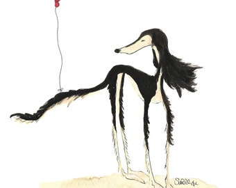The Saluki and the Balloon - A4 Print or A5 or A6 blank card
