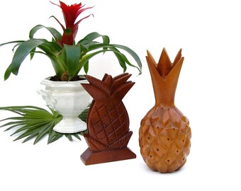 Vintage Wood Pineapple Monkeypod Tropical Beach Tiki Mid century Kitchen 2 Wooden Pineapples Napkin Holder Toothpick Appetizer