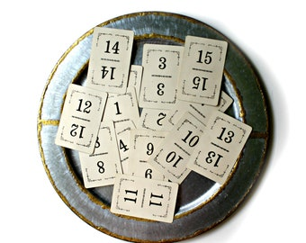vintage Flinch number cards 1-15, 9 sets available, scrapbooking cards, wedding table numbers,vintage ephemera,collage supply,numbered cards