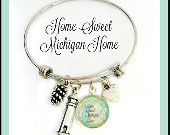 Home Sweet Michigan Home Charm Bracelet