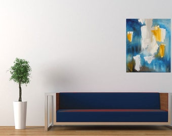 Dazed Sunrise, Abstract Painting, Blue, Yellow, Gray, Oil on Canvas.