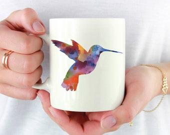 Hummingbird Mug - Hummingbird Lover Gift - Colorful Hummingbird Watercolor Art Mug - Hummingbird Coffee Mug - Unique Hummingbird Gifts