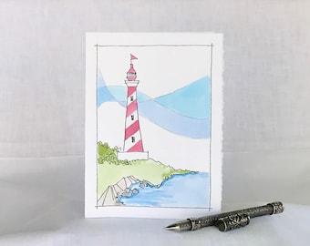 Lighthouse Card - Lighthouse Hand Painted Watercolor Card - Watercolor Lighthouse Greeting Card - Nautical Handpainted Watercolor Card