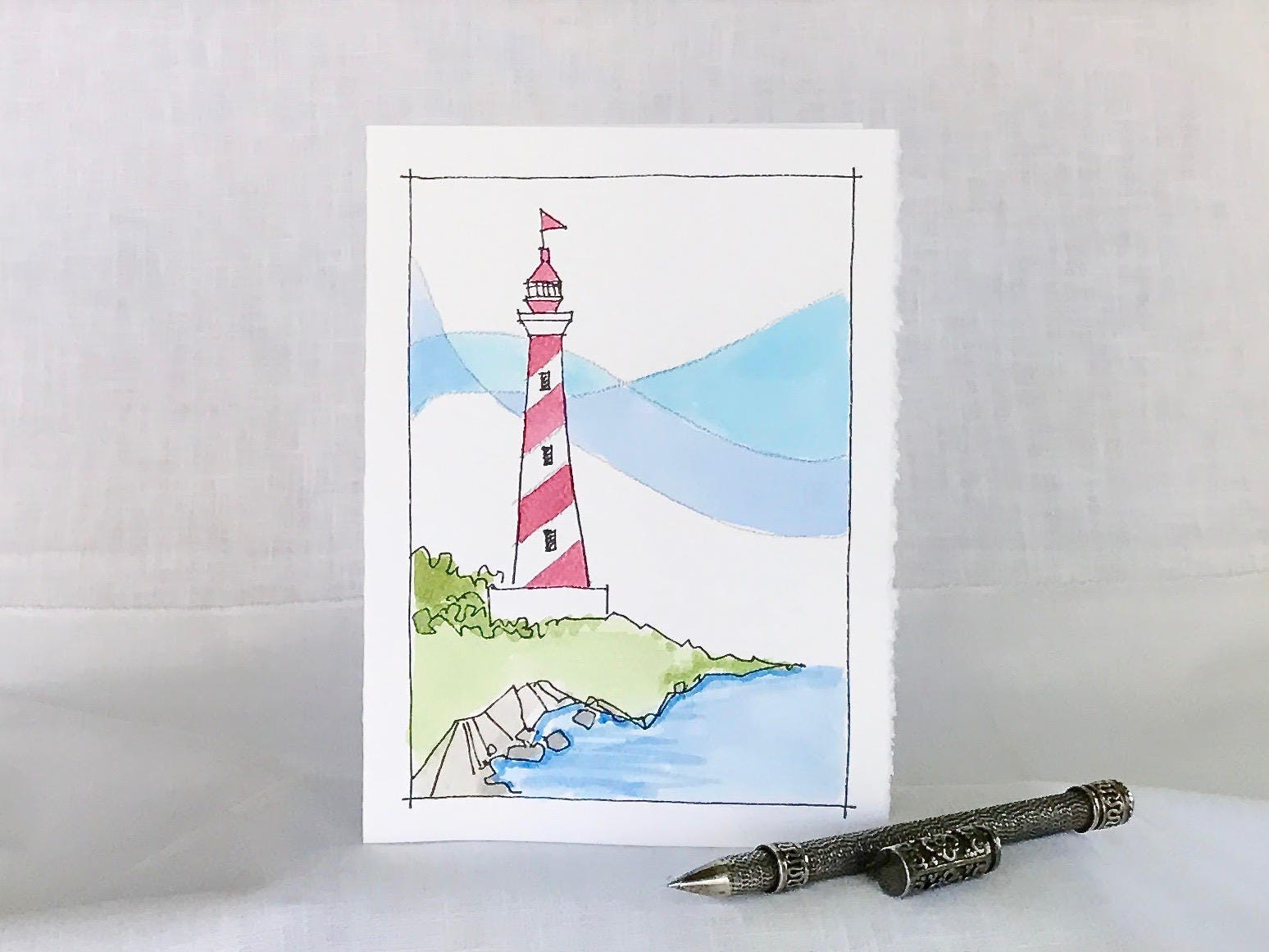 Lighthouse Card Lighthouse Hand Painted Watercolor Card
