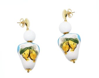 Earrings in silver 925 with hand-painted Capodimonte ceramics and ocean pearls