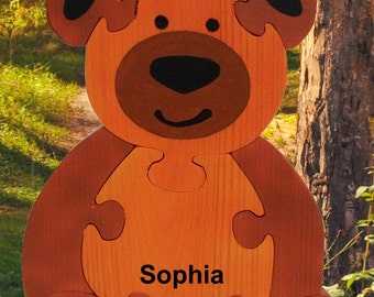 Personalized Puzzles, Bear Puzzle, Handmade Puzzles, Educational Toys, Personalized Gifts, Teddy Bear, Handmade in Israel, Handmade Gifts
