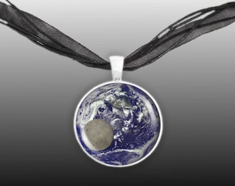 """Blue Marble Planet Earth w/ Moon Solar System 1"""" Pendant Necklace in Silver Tone"""
