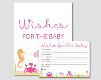 Under the Sea Wishes for Baby Baby Shower Activity in Pink - Printable Well Wishes for Baby Cards and Sign - Instant Download - 0020-P