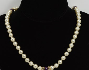 Purple Onyx/Faux Pearl Beaded Necklace