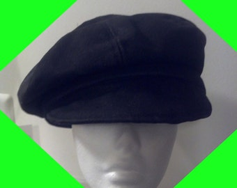 Black Denim Newsboy Cap