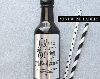 Will you be my Matron of Honor Wine Label - Matron of Honor Proposal Wine Label
