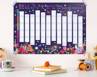 2019 Wall Planner Calendar - Year Wall Planner - Floral Wall Planner - Wall Calendar - Calendar for a Gardener