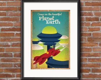 Planet Earth Retrofuture Poster, 12 x 18