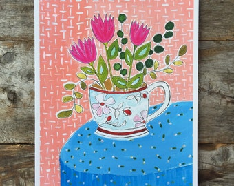 Tulips in a Teacup Archival Giclee Print of a Gouache Painting