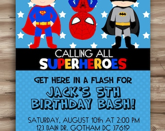 Superhero Birthday Invitation Superhero Invitation Birthday