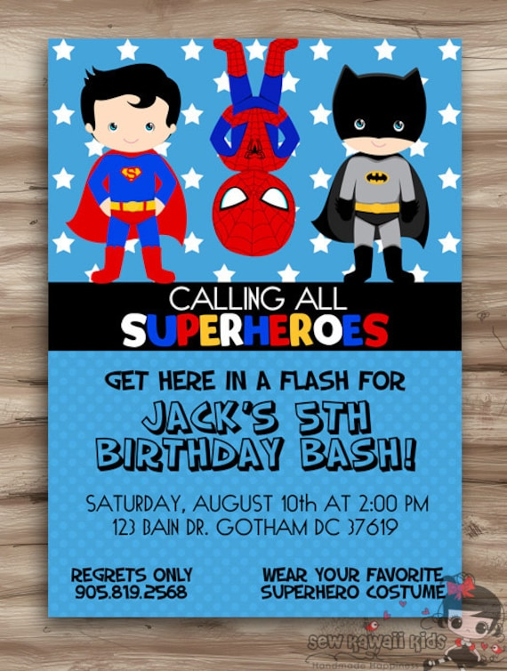 Terrible image with printable superhero invitations