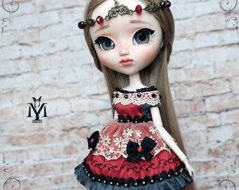 "Ooak Pullip dress. Blythe dress. Head-Jewelry.  ""MozArt"""