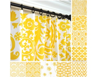 Yellow Gray Window Curtains Grey Blue Drapes Yellow Aqua