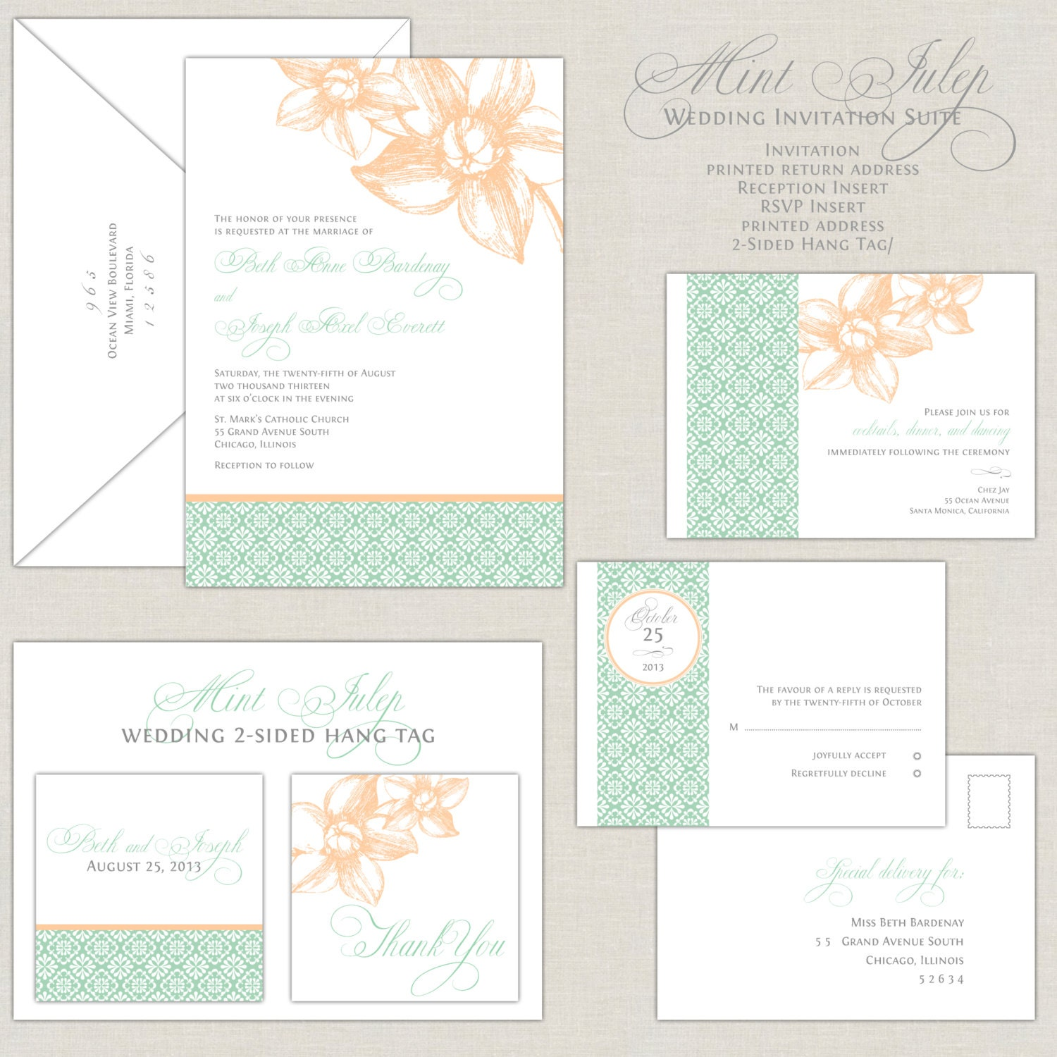 Mint Wedding Invitations Peach Mint Green Wedding Invites