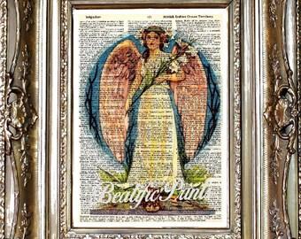 Angel Dictionary Art Print, Angel Sheet Music Print, Vintage Paper Print, Dictionary Art, Sheet Music Art, Angel Art, Vintage Angel Art
