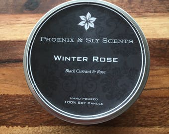 Winter Rose (Rose & Black currant) 100% Hand Poured Soy Candle