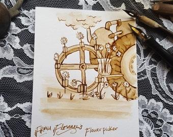 The Florist's Friend - Devices Series - Original Sepia Steampunk Invention Art