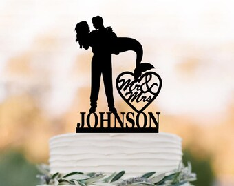 Wedding cake topper mermaid silhouette mr and mrs with custom name wedding cake toppers