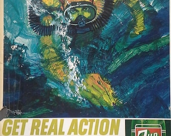 Scuba Diver Illustrated Bob Peak 60s for 7UP Very Cool Skin Diver Scuba Fans Corner Rip Gift Man Cave Intense 13 x 11 Ready Frame