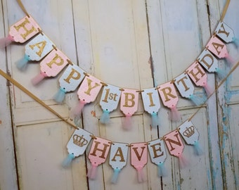 Happy 1st Birthday Banner, Girls Name Banner with Crowns Optional, Embossed Aqua Pink and Gold Banner with Tulle, Girls Birthday Decorations