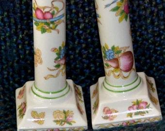 "ANDREA by SADEK 2 Porcelain CANDLESTICKS, White, Floral/Fruit Design. Vintage,eClassical Pattern,Columns/ Square Bases. 7"" high x 3"" Base."