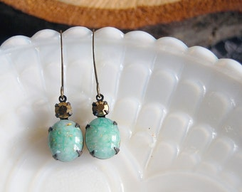 vintage mint and bronze glass stone dangle earrings- holiday party style- aged brass