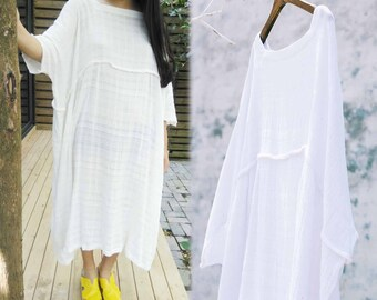 726---Jacquard Cotton Tunic Dress,  Boho White Robe, One size Fits All.