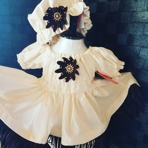 Rustic Baby Dress, Rustic Country Dress, Baby Bohemian Dress, Bloomers Dress Set, Rustic Infant Dress, Autumn Dress, Ivory Child's Dress,