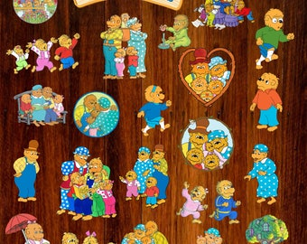Berenstain Bears Clip Art: 24 Transparent PNG Files Instant Download, Berenstain Bears clipart