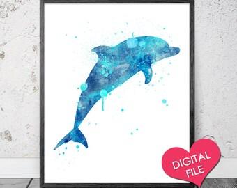 Watercolor Dolphin Art, PRINTABLE Art, Digital Download, Printable Dolphin, Blue Watercolor Painting, Dolphin Print, Dolphin Wall Art, Ocean