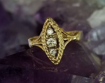 14K Gold and Diamond Ring - Size 5