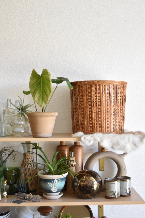 large brown woven rattan basket planter / boho