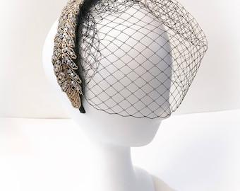 Black birdcage veil, wedding birdcage veil,black bridal headpiece, fascinator, black couture birdcage veil