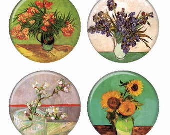 Van Gogh Famous Artist Flowers in Vases Sunflowers Irises Blossoms Magnets or Pinback Buttons or Flatback Medallions Set of 4