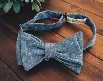 Bow Tie || Blue Chambray