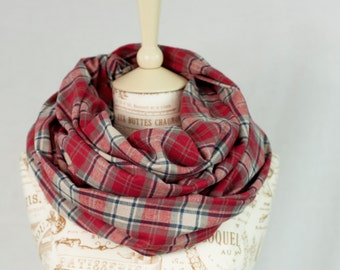 Red Plaid Infinity Scarf, Red Flannel Plaid Scarf, Beauty Gift Clothing Gift, Scarf Tartan Plaid Scarf, Womens Scarves Mother Gift for Her