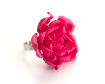 778 Rose ring, Flowers jewelry, Ring flower pink, Gift for girlfriend, Cocktail Ring, Jewelry Gift for her,  Floral ring, Rose jewelry