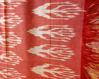 Tender Scarlet and White Romance Natural Silk Ikat Ladies Scarf with Tassels