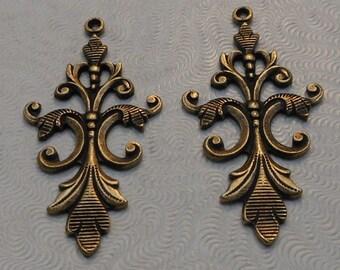 Oxidized Brass Filigree Pendants (2 pcs) 40x18mm F-2985-2-B