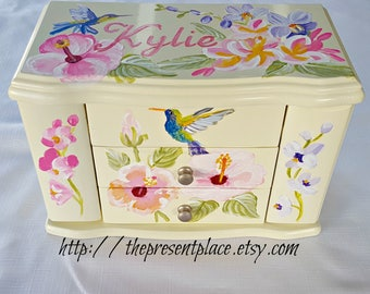 personalized,musical jewelry box,tropical flowers,orchids,hibiscus,hummingbirds,girls jewelry box,musical ballerina box,musical jewelry box