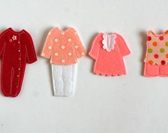 """Pajamas Dressing for TomToy Felt """"paper"""" doll, overall 5x8cm, 1 piece"""