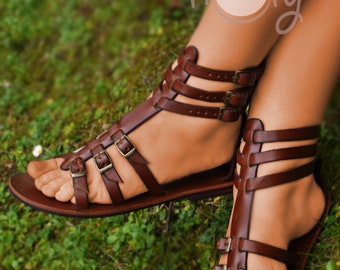 Womens Handmade Brown Leather Gladiator Sandals, Womens Sandals, Womens Leather Sandals, Leather Sandals Women, Boho Sandals, Hippie Sandals