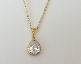 Gold pendant necklace, Gold Wedding Jewelry, bridal necklace, CZ teardrop pendant necklace