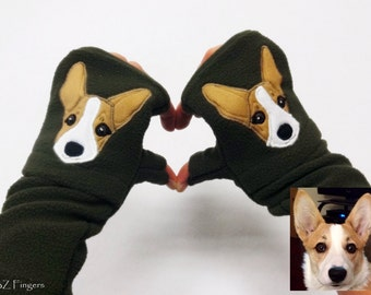 Your Welsh Corgi Personalized Fingerless Gloves with Pockets. Customized Gift  for Dog Lovers